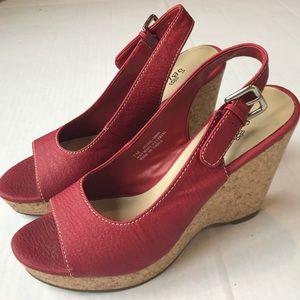 SBICCA Red Wedges Heels Shoes Size 7M sandal